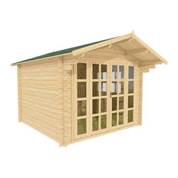 Joy 10 x 10 Wood Shed / Guest Cottage - ECO Garden Sheds. All natural wood 10 x 10 Tropical pool house / guest cottage -- Joy. 10 x 10 Wooden Shed with double door and long windows - Front view A.