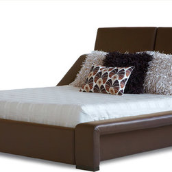 Zuri Furniture - London Leather Platform Bed - King - Brown - You don't have to go overseas to acquire this cosmopolitan wonder - London is here! Exclusive features include top grain Italian leather, armrest rails and fully adjustable headboard. Available in king or queen.