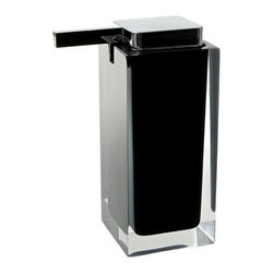 Gedy - Square Black Countertop Soap Dispenser - Modern, decorative square semi-transparent hand soap dispenser with polished chromed plastic hand pump. Soap dispenser container made from thermoplastic resins. Gel dispenser in black finish. Made in Italy by Gedy. Modern, hand soap dispenser. Made from t