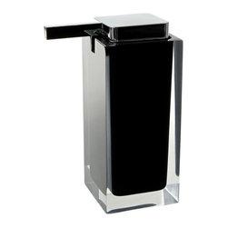 Gedy - Square Countertop Soap Dispenser, Black - Modern, decorative square semi-transparent hand soap dispenser with polished chromed plastic hand pump.