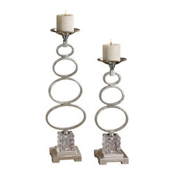 Uttermost - Parson Silver Candleholders Set of 2 - Silver leaf metal candleholders with chrome accents and textured crystal cube. Distressed beige candles included. Sizes: Sm-5x18x5, Lg-5x22x5