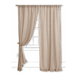 Scalloped Linen Curtain - These scalloped linen panels would be the perfect partner to this lovely branch curtain rod.