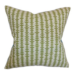 "The Pillow Collection - Jiri Geometric Pillow Green 20"" x 20"" - Accentuate your sofa, seat or bed with this inviting geometric decor pillow. This throw pillow features a modern design with a geometric print pattern in shades of green and white. This square pillow will definitely add an interesting element in your interiors. Combine this 20"" pillow with solids to create a beautiful contrast. Make your home stylish and comfortable by tossing this pillow made from 100% soft cotton fabric. Hidden zipper closure for easy cover removal.  Knife edge finish on all four sides.  Reversible pillow with the same fabric on the back side.  Spot cleaning suggested."