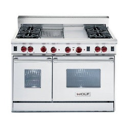 "Wolf 48"" Gas Range - The Wolf gas range features two ovens, convection baking and infrared broilers."