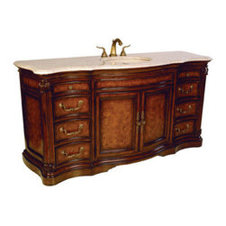 Ambella Home - Four Seasons Sink Chest - This large sink chest is finished in solid mahogany and ash burl veneer. Complete with eight drawers, two doors, and an Ivory Cream marble top. Balsa porcelain sink installed. Dimensions: 72 in. x 24 in. x 36 in.