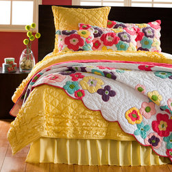 Cottage Home - Kamila Girl Flower Quilt and Sham Separates - Add a pop of color to your bedding with this colorful flower quilt and shams. These eye-catching bed coverings are made of soft 100-percent cotton and are machine washable for your convenience. Each of these Kamila GIrl items are sold separately.