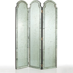 Arteriors - Arteriors Isabella Room Screen - Three arched mirrors join together to form the classically elegant Isabella room screen by Arteriors. Each panel of glass is outlined with a beveled border and antiqued for an aged, romantic quality. 18''W x 76''H; Glass and MDF; Three panels; Black painted back