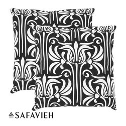 Safavieh - Monaco 18-inch Black/ White Decorative Pillows (Set of 2) - With a fresh, contemporary, eye-catching pattern, these decorative pillows are a lovely addition to any decor. These throw pillows feature a European inspired design with a handwoven cotton cover.