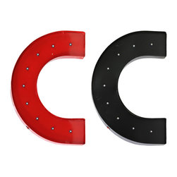 "Metal Wall Decor Letter ""C"" w/ LED Light Two Assorted Color - *Metal Wall Decor Letter ""C"" with LED Light Assortment of Two Assorted Color (Black and Red)"