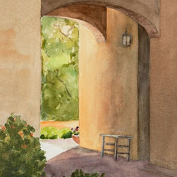 """""""Breezeway"""" Artwork - Looking through a front entrance breezeway out into summer greenery. Note: This painting was photographed before it was signed by the artist (now bottom right.)"""