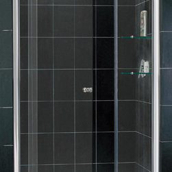DreamLine - DreamLine SHDR-4242728-01 Allure 42 to 49in Frameless Pivot Shower Door, Clear 3 - The Allure pivot shower door will give any bathroom a fresh perspective with clean lines and a flexible installation. A frameless design and premium 3/8 in. thick tempered glass deliver the look and feel of custom glass at an excellent value. 42 - 49 in. W x 73 in. H ,  3/8 (10 mm) thick clear tempered glass,  Chrome hardware finish,  Frameless glass design,  Width installation adjustability: 42 - 49,  Out-of-plumb installation adjustability: Up to 1 in. one side (total 1 in.),  Pivot shower door,  Anodized aluminum wall profiles,  Unique adjustable pivot door hardware,  Door opening: 18 3/4 - 24 3/4 in.,  Two stationary panels: 6 in. and 12 in.,  Material: Tempered Glass, Aluminum