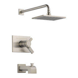 Delta - Vero TempAssure 17T Series Tub and Shower Trim - Delta T17T453-SS Vero TempAssure 17T Series Tub and Shower Trim with Volume Control, Tub Spout and Single Function Showerhead in Stainless.