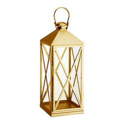 Carriageway Brass Candle Lantern - Decorate your patio, garden or deck with the Carriageway Brass Candle Lantern. Its gleaming appeal will bring joy to wherever you decide to place it.