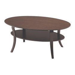 """Adesso - Montreal Coffee Table - Graceful lines of the bentwood legs define this set of tables with fine dark walnut veneer finish. Each table has a middle shelf for added style and support. 39.5"""" Width, 24"""" Depth, 16.75"""" Height. Bottom shelf: 33"""" Width, 18"""" Depth. Clearance between shelves: 7. Clearance from floor: 9. Minimal assembly."""