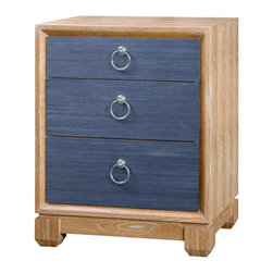 Calvin 3-Drawer Side Table - Description: Cerused oak and veneer with grasscloth drawer fronts and silver ring pulls.