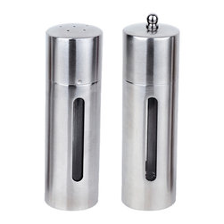 """Berghoff - Berghoff Round 2-Piece Salt and Pepper Mill Set - Set includes: (7"""") salt cellar and (7"""") pepper mill. Durable 18/10 stainless steel will allow you to use these for years to come. Mirror finish gives an elegant look on any table."""