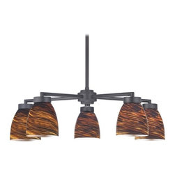 Design Classics Lighting - Black 5-Light Modern Chandelier with Brown Art Glass - 590-07 GL1023MB - Contemporary / modern matte black 5-light chandelier with modern bell glass shades. Includes one 6-inch and three 12-inch down rods that allow this chandelier to hang at a minimum height of 17-1/8-inches up to a maximum of 53-1/8-inches. Takes (5) 100-watt incandescent A19 bulb(s). Bulb(s) sold separately. UL listed. Dry location rated.