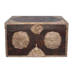 Golden Lotus - Tibetan Handmade Leather Surface Silver Color Hardware Wooden Trunk - This gorgeous Tibetan trunk is made of solid wood and has a thin layer of leather on the surface. The front and the sides are decorated with silver color hardware.