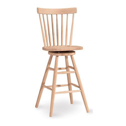 International Concepts - Copenhagen Unfinished Swivel Bar Stool - Swivel your perspective on affordable, attractive furniture with this classic bar stool. The all-wood frame has an upper back support and a wide seat. Eight slat back promotes ventilation during even prolonged seating. Footrest included in the sensible design. Veneer hoop. Swivel stool. Made of Solid Parawood. Only 4 nuts to attach to 4 bolts. Ships knock-down. Assembly required. 17.4 in. W x 15.5 in. D x 48 in. H (27 lbs.). Seat height: 30 in.