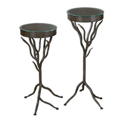 Uttermost - Esher Plant Stands, Set of 2 - Don't you like the idea of nature supporting nature? OK, the bronze metal, hand-forged twigs are not technically nature, but they get the idea across. And then they can hold your plants. Or, if you're not into nature, they could hold your other metal or glass sculptures. These are nondiscriminating plant stands, after all.