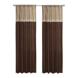 Lush Decor - Terra Beige/Brown Window Curtain - Set of 2 - Includes: 2 Window Panels. Tie Backs not included. Fabric Content:100% Polyester. Color: Beige/Brown. Care Instruction: Dry clean. 54 in. x 84 in. Fun colors and classy designs makes this drapery set perfect for any room. Top loop slides easily onto your curtain rod for quick installation. Full lining provides extra insulation and privacy. Durable fabric promises lasting quality.