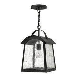 Hinkley Lighting - Hinkley Lighting 2652BK Putney Bridge Outdoor - Putney Bridge is a classic Shaker-inspired style constructed of durable solid aluminum.  The generous panels of dense seedy glass, forged metal roof and classic rivet construction combine with a bold Black finish to complete this authentic design.