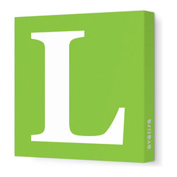 """Avalisa - Letter - Upper Case 'L' Stretched Wall Art, 12"""" x 12"""", Green - Spell it out loud. These uppercase letters on stretched canvas would look wonderful in a nursery touting your little one's name, but don't stop there; they could work most anywhere in the home you'd like to add some playful text to the walls. Mix and match colors for a truly fun feel or stick to one color for a more uniform look."""
