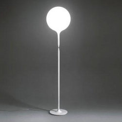 Artemide - ARTEMIDE CASTORE FLOOR LAMP - The Castore floor lamp by Artemide has a spherical diffuser design which is enhanced by a removable-fitting and tapering luminous stem, that makes the transition from the strong diffuser light to the blind lamp structure area gentle.