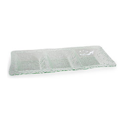 Danya B. - Three Section Rectangular Textured Glass Plate - Serve with refinement when you use this rectangular textured glass tray, with its three sections for the ultimate structured platter. Set out three different sushi rolls, two kinds of veggies flanking the dip — the possibilities are endless!