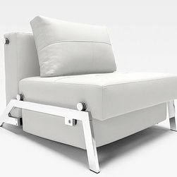 "Innovation USA - ""Innovation USA"" Cubed Deluxe Chair in White Leather Textile - Absolutely comfortable and space-saving, the ""Innovation USA"" Cubed Deluxe Chair in White Leather Textile is a fine chance to enhance your small space (living room, bedroom). The chair features a unique transformation technique that allows you to turn the chair into a sleeper for your overnight guests. The base is made of steel in chrome finish.    Features:"