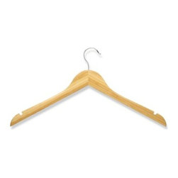 Honey-can-do - Honey-Can-Do 5-Pack Wooden Shirt Hangers - These natural wooden clothes hangers in a bamboo color have a contoured design perfect for keeping shirts, dresses, and jackets wrinkle-free. Features a 360° swivel rod hook to hang items easily on any closet rod, towel bar, or standard size door.