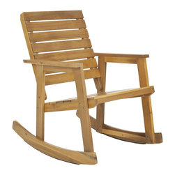 Safavieh - Safavieh Outdoor Alexei Teak Rocking Chair - Take a rock on the wild side. The rustic chic style of the Alexei rocking chair is a modern spin on the seating choice of grandmothers around the globe. Crafted with acacia wood in teak-brown finish, it will be the great part of being outdoors.