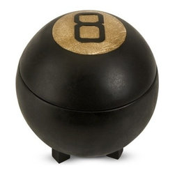 """IMAX - Eight Ball Lidded Box - The legendary eight ball has been repurposed into a functional, whimsical lidded box. My sources say it is a great conversation piece! Item Dimensions: (8.5""""h x 7""""d)"""