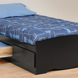 Prepac - 76.5 in. Twin Platform Bed in Black Finish - Includes three drawers. Drawers for keeping your linens, blankets and clothes. Provides space-saving storage for even the smallest bedroom. Suitable for twin mattresses. Sides glide on metal runners with built-in safety stops. Finger pulls at the bottom of each drawer front for easy opening. Warranty: Five years. Made from CARB-compliant, laminated composite woods. Made in North America. Drawer: 21.5 in. W x 18 in. D x 5 in. H. Overall: 76.5 in. L x 41 in. W x 18.75 in. H. Weight capacity: 250 lbs.The Twin Mates Platform Storage Bed with three drawers does double duty as a bed and dresser. Position the drawers on either the right or left side of the bed, depending on the layout of your room and watch your floor space grow! No need for a box spring, either: its slat support system only requires a mattress. Wood slats positioned length-wise distribute body weight evenly to ensure a good nights sleep.