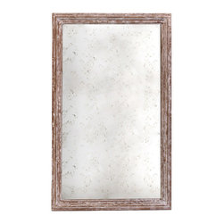 Kathy Kuo Home - Marseilles French Farmhouse Antique Taupe Rectangular Mirror- Small - The details on this rustic Marseilles mirror add to its subtle mystery - symmetrically carved wood with a hand-rubbed antique gold finish beautifully frames a distressed mirror that hints at the Gilded Age. Perfectly sized for the entryway or dining area in your French country home.