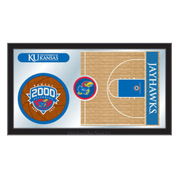 "Holland Bar Stool - Holland Bar Stool Kansas Basketball Mirror - Kansas Basketball Mirror belongs to College Collection by Holland Bar Stool The perfect way to show your school pride, our basketball Mirror displays your school's symbols with a style that fits any setting.  With it's simple but elegant design, colors burst through the 1/8"" thick glass and are highlighted by the mirrored accents.  Framed with a black, 1 1/4 wrapped wood frame with saw tooth hangers, this 15""(H) x 26""(W) mirror is ideal for your office, garage, or any room of the house.  Whether purchasing as a gift for a recent grad, sports superfan, or for yourself, you can take satisfaction knowing you're buying a mirror that is proudly Made in the USA by Holland Bar Stool Company, Holland, MI.   Mirror (1)"