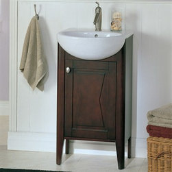 """Fairmont Designs - Fairmont Designs 20"""" Lifestyle Collection Bowtie Vanity Combo - Espresso - Fairmont Designs is described in two words; quality and beauty. Express your creativity with Fairmont Designs bathroom vanities and bath furniture ensembles. The distinctive families of bath furniture from Fairmont Designs come in styles for every bath. Artistry and elegance are delivered in carefully constructed products built with sustainable materials and sturdy craftsmanship. From petite corner solutions to traditional sized pieces, Fairmont Designs is your choice for exquisite and timeless beauty.Fairmont Designs allows you to create your own unique bathroom vanity set by mixing and matching pieces and components. Looking for a simple, stylish, and affordable answer to your bath furniture needs? Fairmont Designs is pleased to introduce the Bath in a Box: Simple Solutions Bowtie Collection. This unique combination set somes with a vanity, white vitreous china sink, and mirror! Featuring clean, simple lines, door fronts adorned with distinctive bow-tie decorative panels and picture frame moldings, brushed metal pulls, and gracefully flared legs, this charming collection is ideal for a variety of bathroom settings. And because the Bowtie vitreous china top is narrower than conventional vanity depths, this unique combination is ideal for smaller spaces or tricky bathroom layouts. The Bowtie 20"""" Single Vanity is made of the finest select poplar solids and hardwood veneers finished in a beautiful Espresso color, accented with brushed nickel hardware. Set comes complete with vanity cabinet, china sink, and mirror! Just add a single hole faucet and you are ready to go! Also available in white finish. Actual cabinet color may vary because each piece is handmade and finished. Please allow for 2-3 week delivery time for Fairmont Designs vanities. Dimensions   Width Depth Height Vanity & Counter 20 16.125 36 Mirror 20.5 1.5 27.5 How to handle your counterView Spec Sheet"""