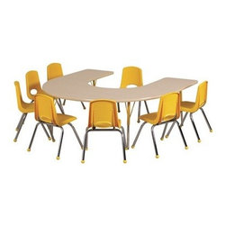 """Ecr4kids - Ecr4Kids Play School Classroom Adjustable Activity Table - Horseshoe 60"""" X 66"""" - Table tops feature stain-resistant and easy to clean laminate on both sides. Adjustable legs available in 3 different size ranges: Standard (19""""-30""""), Toddler (15""""-23""""), Chunky (15""""-24""""). Specify edge banding and leg color. Specify leg type."""