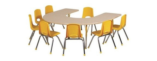 "Ecr4kids - Ecr4Kids Play School Classroom Adjustable Activity Table - Horseshoe 60"" X 66"" - Table tops feature stain-resistant and easy to clean laminate on both sides. Adjustable legs available in 3 different size ranges: Standard (19""-30""), Toddler (15""-23""), Chunky (15""-24""). Specify edge banding and leg color. Specify leg type."