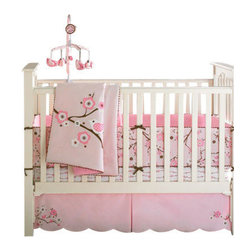 Bananafish - MiGi Blossom 3-Piece Crib Bedding Set by Bananafish - Dainty brown tree branches topped with pink blooms make a perfect perch for their pink and white feathered friends. Welcome your new addition with this girly 3-piece bedding set that's as fresh as spring itself.