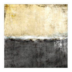 Chroma Horizons VII Unframed Giclee with Knife Gel Finish - Choppy lines of brushwork between a stone-grey sea and warm sepia-hued sky � or perhaps the transition between stucco and shingle on a cottage, or the snow-capped cliffs below expansive dusty clouds � separate fields of neutral color in Chroma Horizons VII.  This abstract art print perfectly suits any theme due to the imaginative possibilities that complicate its simple subject.