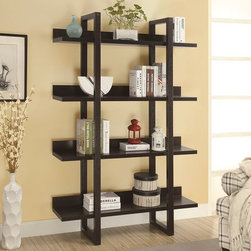 """Monarch Specialties - Monarch Specialties 71 Inch Open Concept Display Etagere in Cappuccino - Upgrade your home with this unique, rich cappuccino open display shelf. A great spot for family photos, books, or nick-nacks to display for all your guests. Sturdy and 71"""" high."""