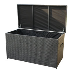 None - Modena Resin Wicker Cushion Storage Box - This storage box is ideal to store the cushions of your patio furniture when not in use. This patio furniture is made of resin wicker with a powder-coated stainless aluminum frame and will nicely blend with the rest of your outdoor decor.