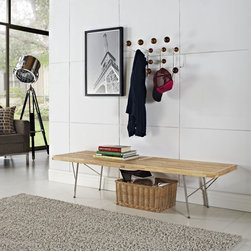 Modway - Vantage Natural Wood Top Medium Bench - The seamless and airy design of the Vantage bench offers a lightweight look that complements any room. Vantage's natural parawood seat combines with polished stainless steel legs to provide a modern and innovative bench.