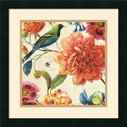 Amanti Art - Rainbow Garden II Cream Framed Print by Lisa Audit - Decorate with springtime year round with this garden floral piece by Lisa Audit.