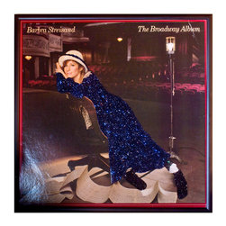 """Glittered Barbra Streisand Broadway Album - Glittered record album. Album is framed in a black 12x12"""" square frame with front and back cover and clips holding the record in place on the back. Album covers are original vintage covers."""