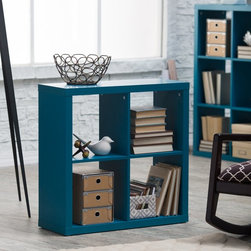 Finley Home - Hudson 4-Cube Bookcase - Teal Multicolor - GD08135-GD07 - Shop for Bookcases from Hayneedle.com! The contemporary 4 Cube Bookcase Teal is a highly functional accent piece that offers plenty of options for housing books movies games and even your prized collectibles. This compact unit is wonderful for storage and display with its four open compartments which can easily be accessorized with drawers of your own. The interior honeycomb construction of MDF and melamine makes this a lightweight yet extremely durable product that's stackable with other cube bookcases in its class. Available in a vibrant teal finish this convenient organizer brings the decor to life and makes a youthful and fun atmosphere. Some assembly is required. Measures 29.6W x 11.6D x 29.6H in.About Finley HomeFinley Home was created to ensure that your needs wants and desires regarding home furnishings and decor are met with ease. Offering a well-appointed mix of both current and classic designs all with functional style at exceptionally affordable prices Finley Home's unique pieces and collections are ideal for keeping pace with today's ever-evolving lifestyles. Simple silhouettes understated elegance and versatility define the Finley Home brand and make it one you'll return to for years to come.