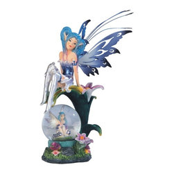 GSC - 6.25 Inch Fairy Sitting on Lily with Crystal Ball Figurine - This gorgeous 6.25 Inch Fairy Sitting on Lily with Crystal Ball Figurine has the finest details and highest quality you will find anywhere! 6.25 Inch Fairy Sitting on Lily with Crystal Ball Figurine is truly remarkable.