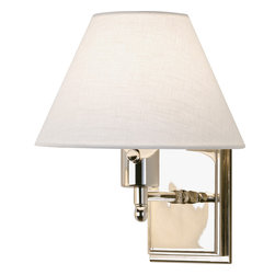 Robert Abbey - Meilleur Single Swing Arm, Nickel - Clinging to the wall doesn't make you a wallflower. In fact, this sconce is anything but. With its classic shape, sleek nickel finish, white linen shade and full range dimmer switch, it will make you sit up and take notice. Get a pair to turn your favorite window seat into a reading or homework nook.