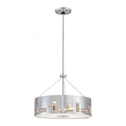 "Steel Chrome Drum Shade Contemporary Pendant Lighting Small - Steel Chrome Drum Shade Contemporary Pendant Lighting Small. Steel pendant lamp,metal frame in chrome with clear crystals for decorations,adjustable metal rods in chrome with max length of 42""(1*6""+3*12""),grosted glass diffuser at the bottom with metal parts in chrome for details. round canopy in chrome. E27,max.2*60W"